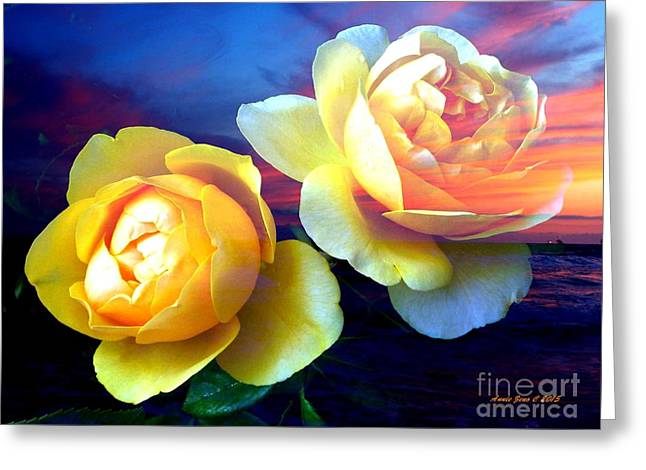 Beach Photography Greeting Cards - Roses Basking In A Ocean Sunset Greeting Card by Annie Zeno