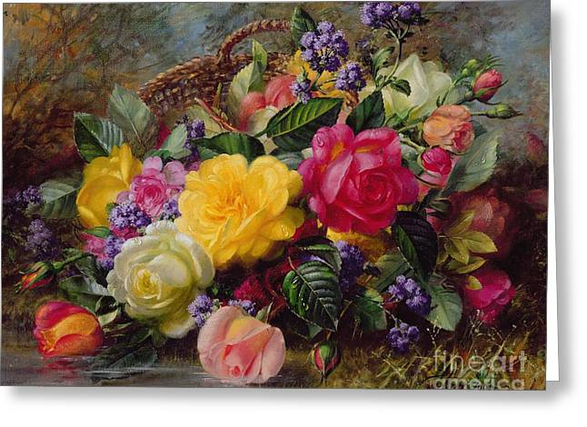 Oils Greeting Cards - Roses by a Pond on a Grassy Bank  Greeting Card by Albert Williams