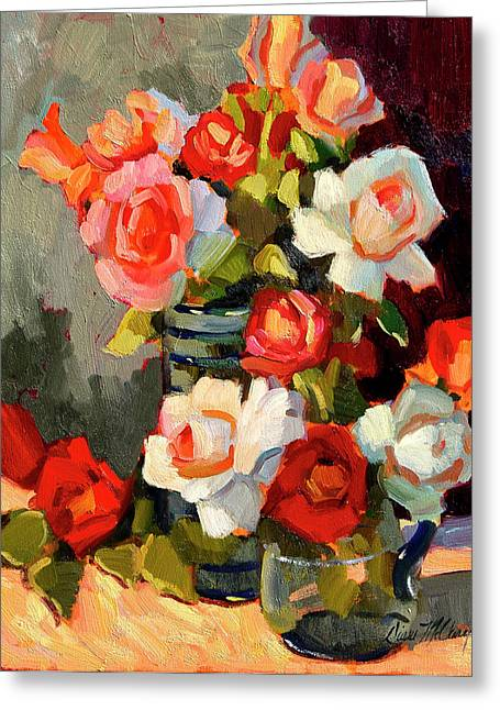 Basket Pot Greeting Cards - Roses From My Garden Greeting Card by Diane McClary