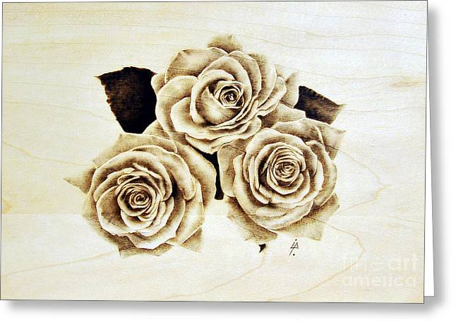 Woodburnings Pyrography Greeting Cards - Roses Greeting Card by Ilaria Andreucci