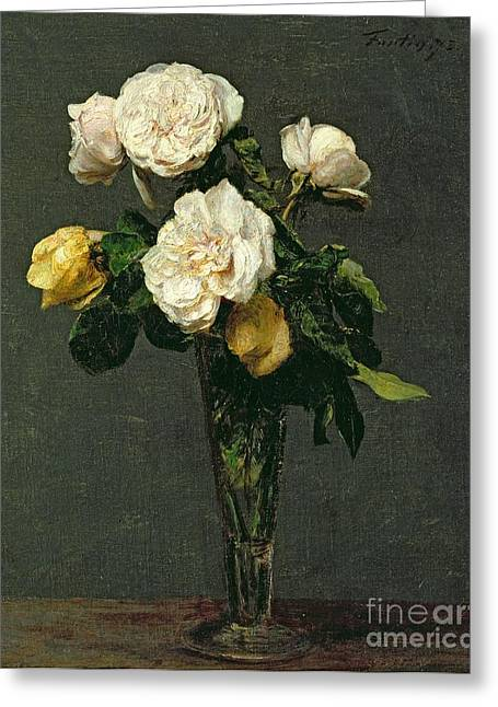 Best Sellers -  - Glass Vase Greeting Cards - Roses in a Champagne Flute Greeting Card by Ignace Henri Jean Fantin-Latour