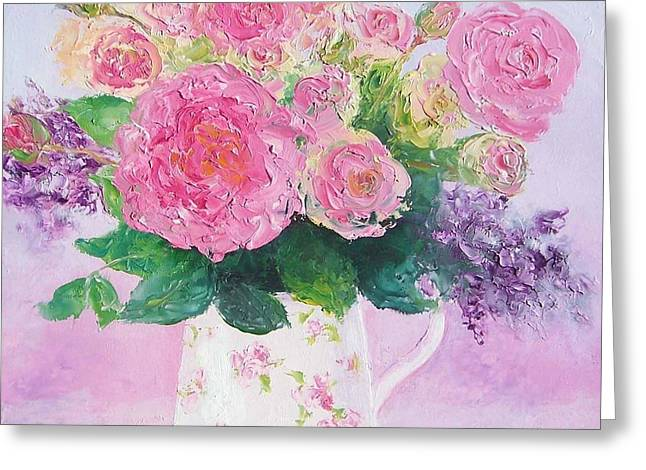 Shower Curtain Greeting Cards - Roses in a pink floral jug Greeting Card by Jan Matson