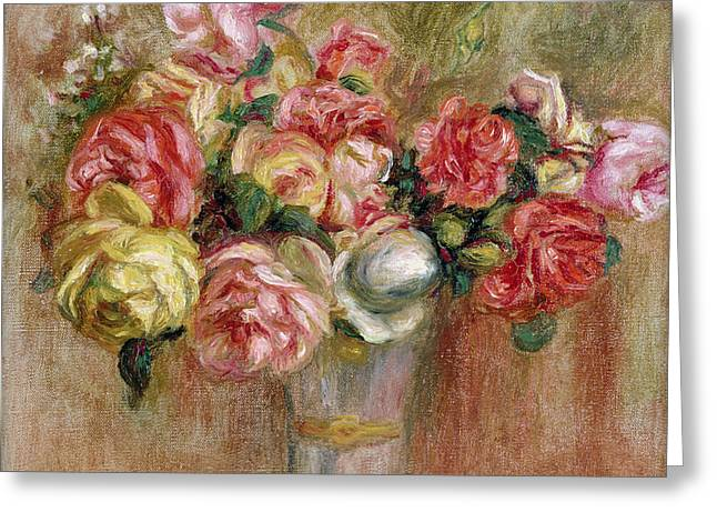 Roses in a Sevres Vase Greeting Card by Pierre Auguste Renoir
