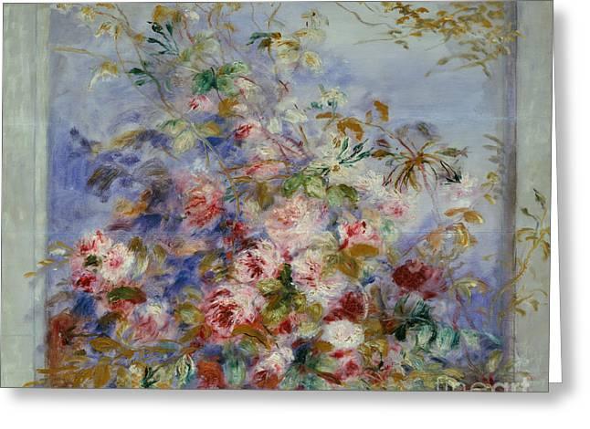 Roses In A Window Greeting Card by Pierre Auguste Renoir