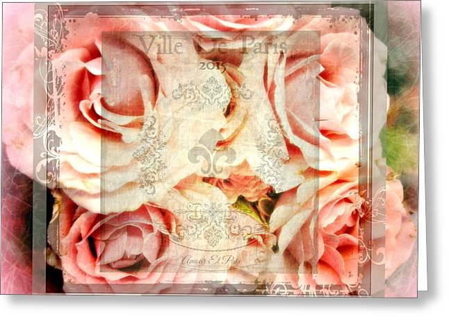 Roses In Paris Greeting Card by Kathy Bucari