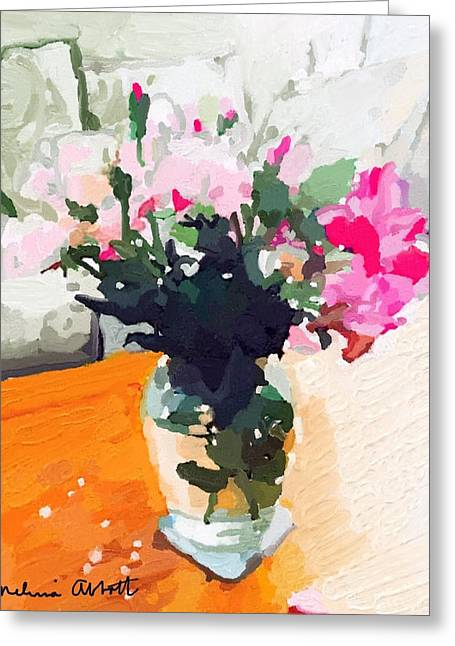 Table Greeting Cards - Roses in the Living Room Greeting Card by Melissa Abbott
