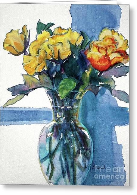 Life Line Mixed Media Greeting Cards - Roses in Vase Still Life I Greeting Card by Kathy Braud