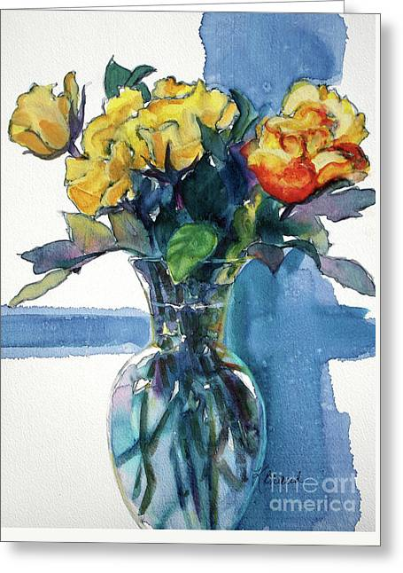 Glass Vase Greeting Cards - Roses in Vase Still Life I Greeting Card by Kathy Braud