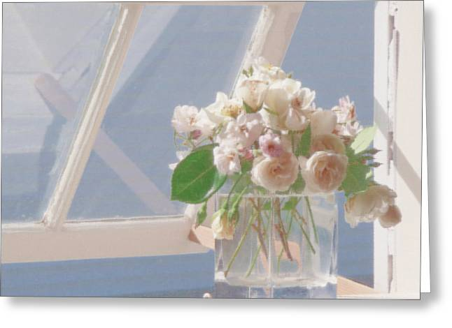 Chatham Greeting Cards - Roses in Window Greeting Card by Heather MacKenzie