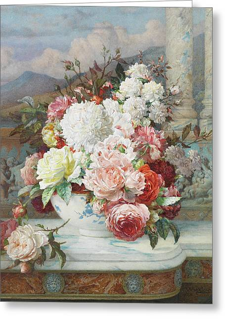 Roses On A Marble Ledge Greeting Card by William Jabez Muckley