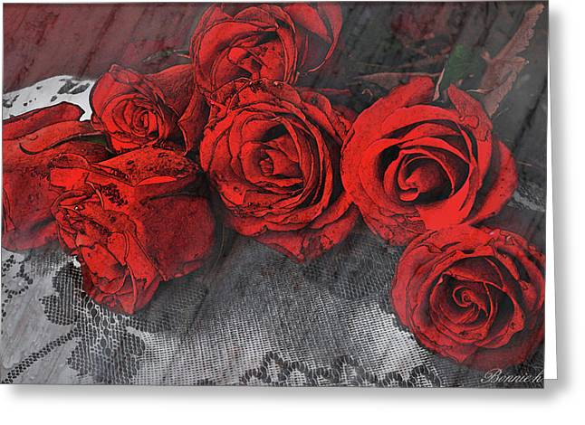 Photos With Red Digital Greeting Cards - Roses on Lace Greeting Card by Bonnie Willis