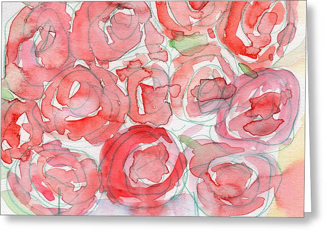 Roses On My Table- Art By Linda Woods Greeting Card by Linda Woods
