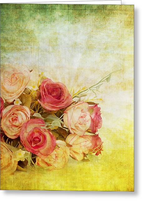 Abstract Flower Greeting Cards - Roses Pattern Retro Design Greeting Card by Setsiri Silapasuwanchai