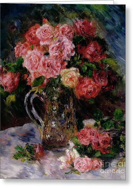 Best Sellers -  - Glass Vase Greeting Cards - Roses Greeting Card by Pierre Auguste Renoir
