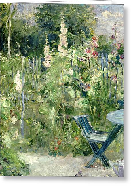 Hollyhocks Greeting Cards - Roses Tremieres Greeting Card by Berthe Morisot