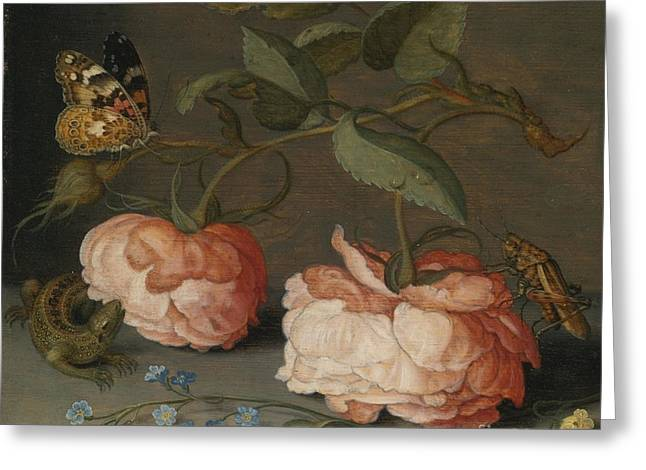 Balthasar Greeting Cards - Roses With A Butterfly And A Grasshopper Greeting Card by Balthasar van der Ast