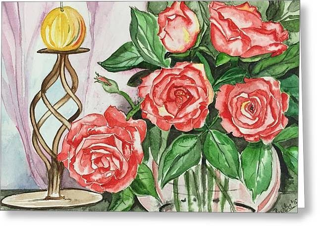 Roses With Candle Stand  Greeting Card by Pushpa Sharma