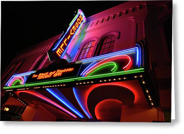 Flick Photographs Greeting Cards - Roseville Theater Neon Sign Greeting Card by Melany Sarafis