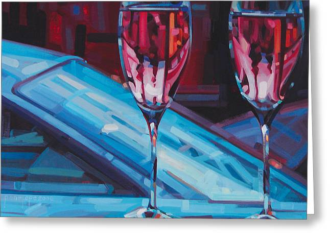 Wine Tasting Greeting Cards - Rosey Twins Greeting Card by Penelope Moore