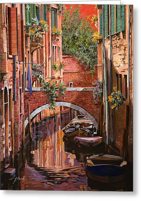 Canal Greeting Cards - Rosso Veneziano Greeting Card by Guido Borelli