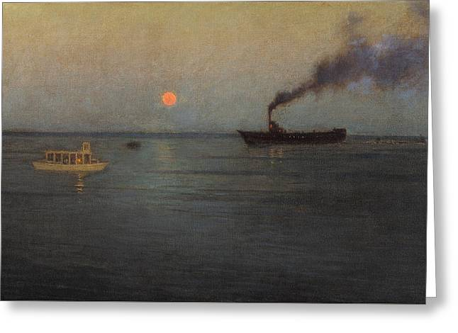 Birge Greeting Cards - Rosy Moon Off Charleston Harbor Greeting Card by Lowell Birge Harrison
