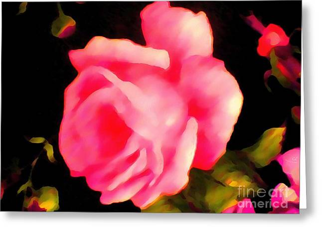 On The Beach Greeting Cards - Rosy Pink Thick Painted Greeting Card by Catherine Lott