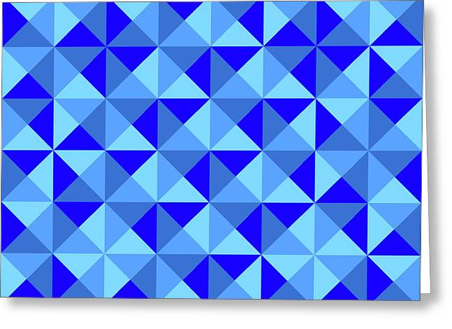 Blue Abstracts Greeting Cards - Rotated Blue Triangles Greeting Card by Ron Brown