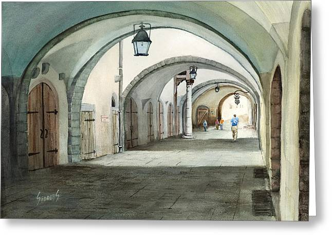Germany Paintings Greeting Cards - Rothenburg Backstreet Greeting Card by Sam Sidders