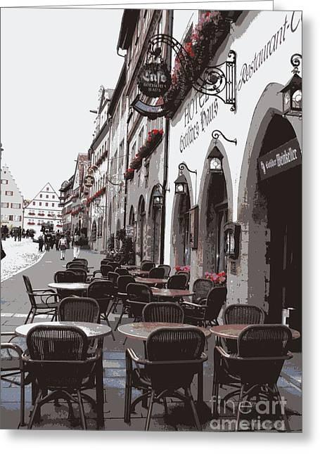 Rothenburg Cafe - Digital Greeting Card by Carol Groenen