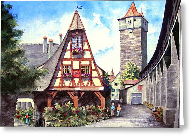 Tower Greeting Cards - Rothenburg Memories Greeting Card by Sam Sidders