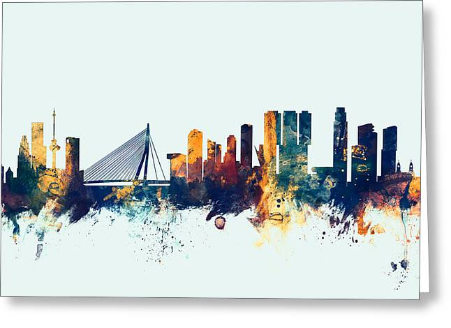 Rotterdam The Netherlands Skyline Greeting Card by Michael Tompsett