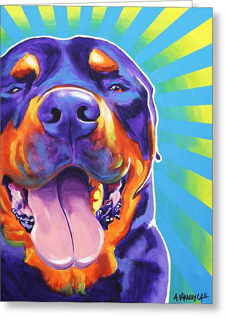 Rottweiler Greeting Cards - Rottweiler - Duncan Greeting Card by Alicia VanNoy Call