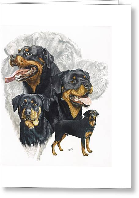 Working Dog Greeting Cards - Rottweiler Greeting Card by Barbara Keith