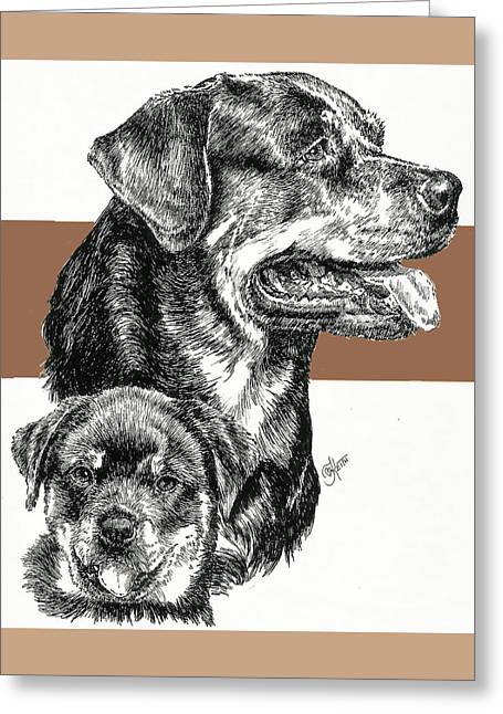 Working Dog Mixed Media Greeting Cards - Rottweiler Father and Son Greeting Card by Barbara Keith