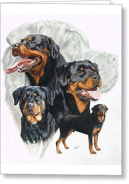 Working Dog Greeting Cards - Rottweiler w/Ghost  Greeting Card by Barbara Keith