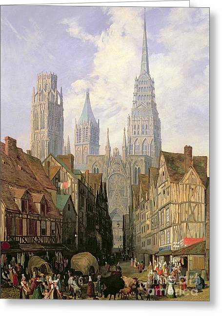 Street Scenes Greeting Cards - Rouen Cathedral Greeting Card by Lewis John Wood