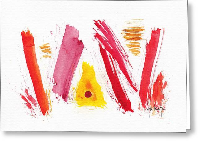 Alizarin Crimson Greeting Cards - Rough Around The Edges Abstract #6 Greeting Card by Pat Katz