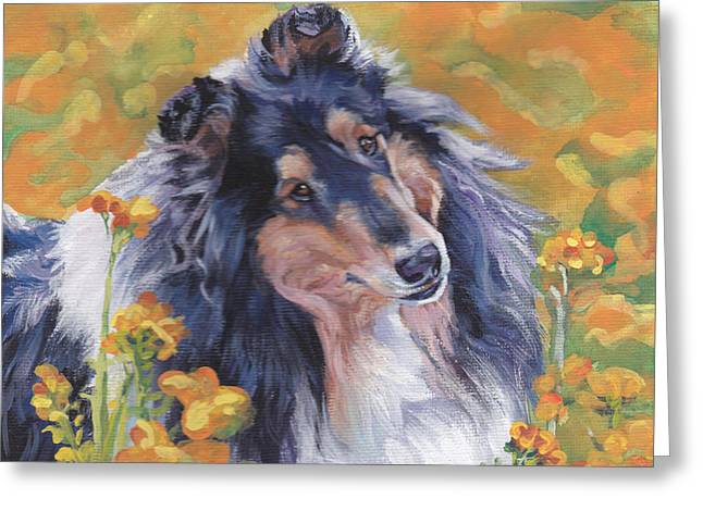 Puppies Paintings Greeting Cards - Rough Collie Greeting Card by Lee Ann Shepard