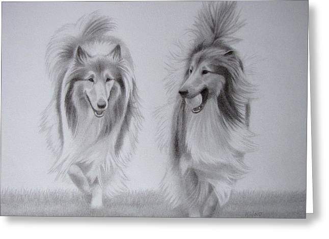 Dog Trots Greeting Cards - Rough Collie Sisters Greeting Card by Karen Wood