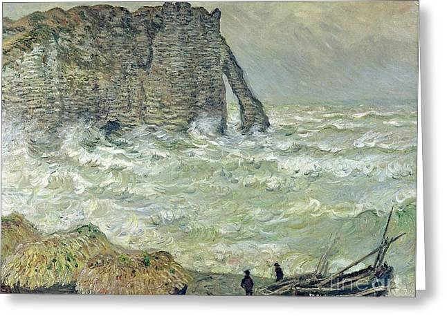 Rough Paintings Greeting Cards - Rough Sea at Etretat Greeting Card by Claude Monet