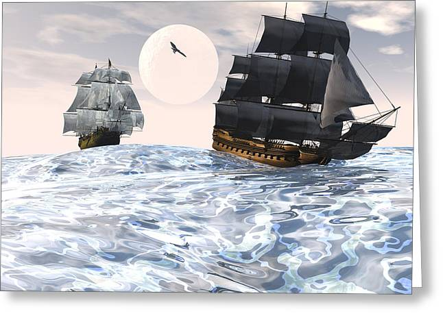 Sailing Ship Greeting Cards - Rough seas Greeting Card by Claude McCoy
