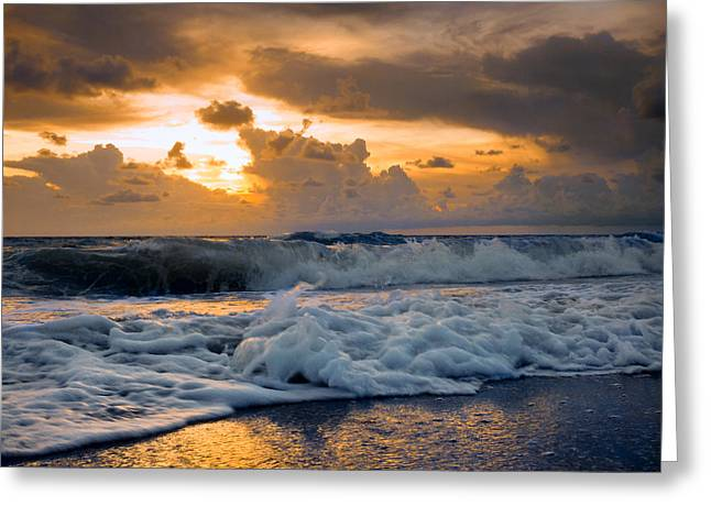 Turbulent Skies Greeting Cards - Rough surf and golden sunset. Greeting Card by Gene Camarco