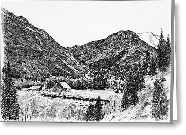 Old Barn Drawing Greeting Cards - Round Mountain Greeting Card by Judy Sprague