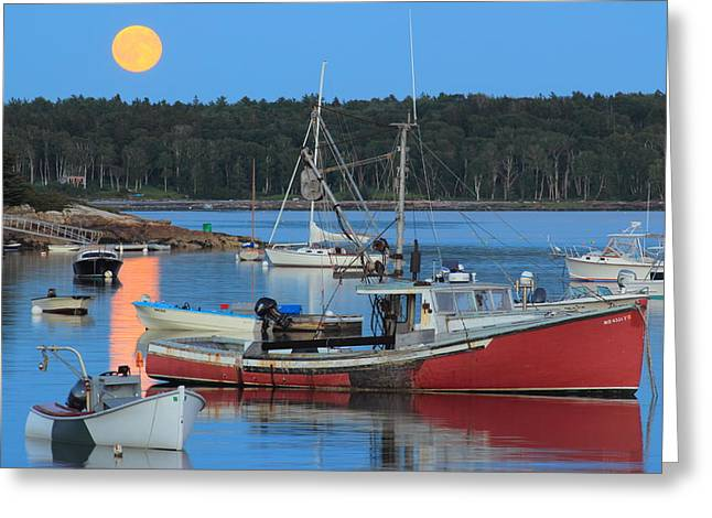 New England Ocean Greeting Cards - Moonrise and Boats Round Pond Harbor Maine Greeting Card by John Burk