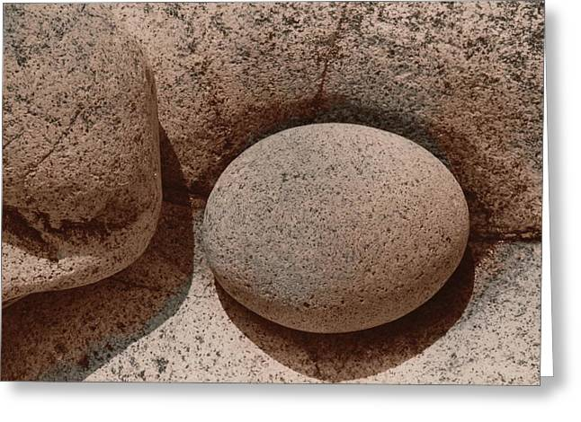 Round Stone On Rock Greeting Card by Elspeth Ross