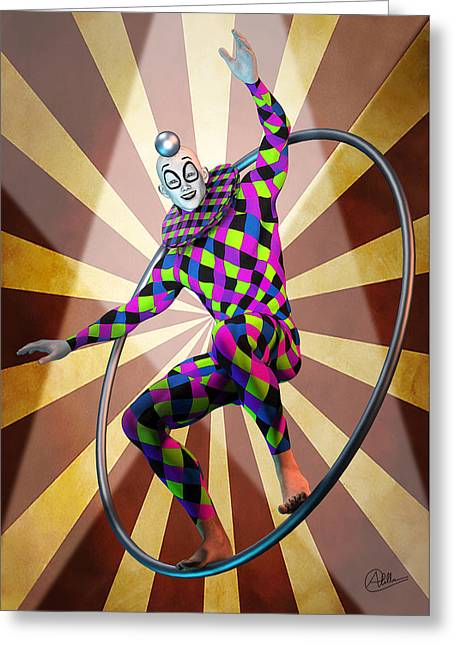 Jester Mixed Media Greeting Cards - Round trapeze By Quim Abella Greeting Card by Joaquin Abella