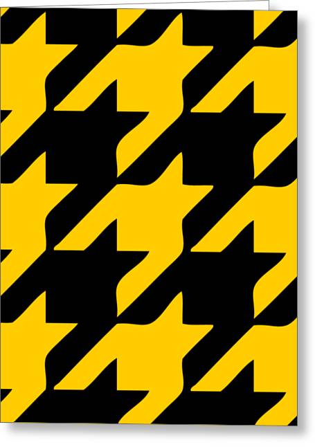 Hounds Tooth Greeting Cards - Rounded Houndstooth Black Background 03-P0123 Greeting Card by Custom Home Fashions