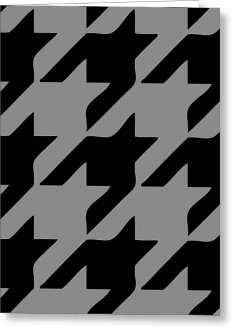 Hounds Tooth Greeting Cards - Rounded Houndstooth Black Pattern 03-P0123 Greeting Card by Custom Home Fashions