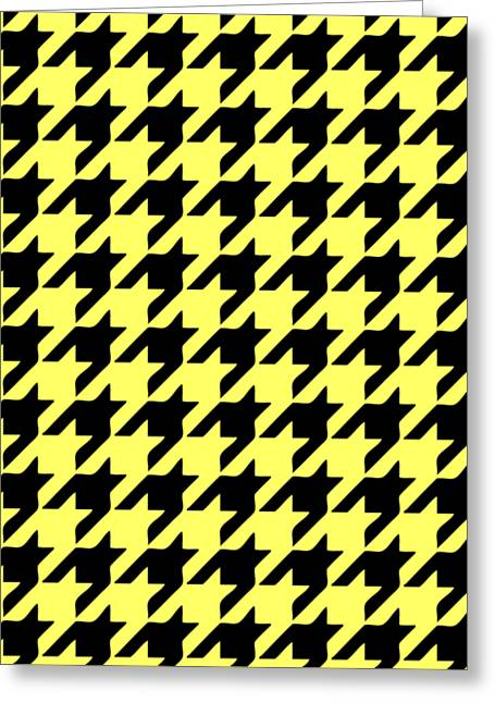 Hounds Tooth Greeting Cards - Rounded Houndstooth Black Pattern 09-P0123 Greeting Card by Custom Home Fashions