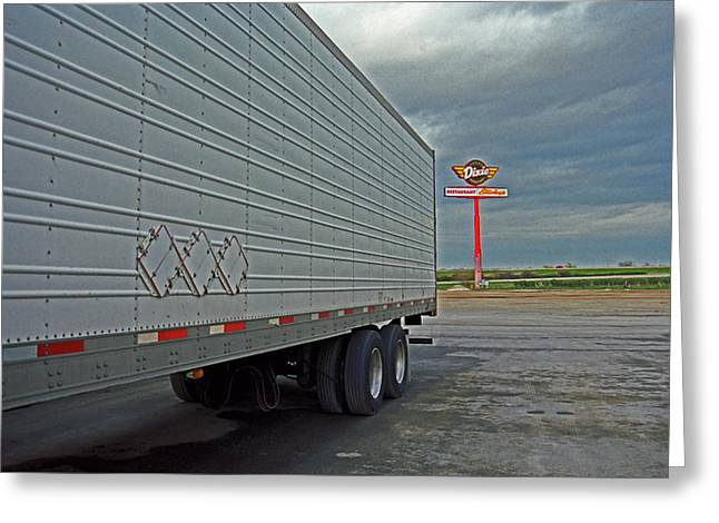 West Wing Greeting Cards - Route 66 - Dixie Truck Stop Greeting Card by Frank Romeo